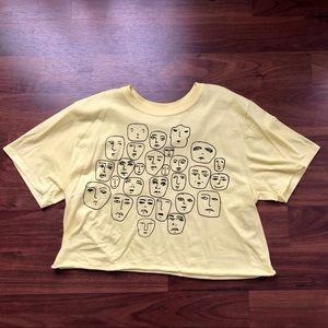 Urban Outfitters Yellow Face Crop Tee
